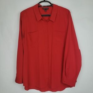 Lane Bryant Red Button Up Slit Open Back Top